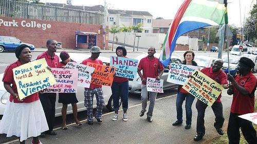Manifestation à Durban pour la Pizzeria Anarchia