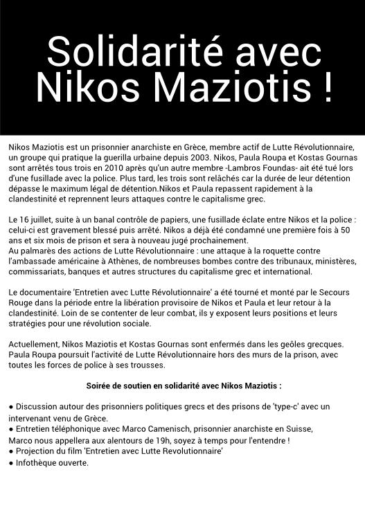 Soirée de soutien à Nikos Maziotis - Verso