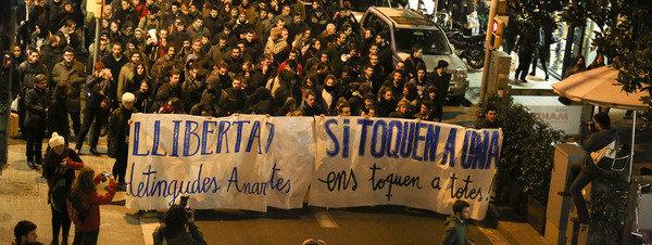 Manifestation à Barcelone en soutien aux inculpés de l'opération Pandora