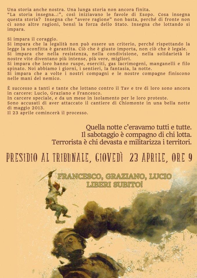 Affiche de solidarité avec les 3 No TAV.