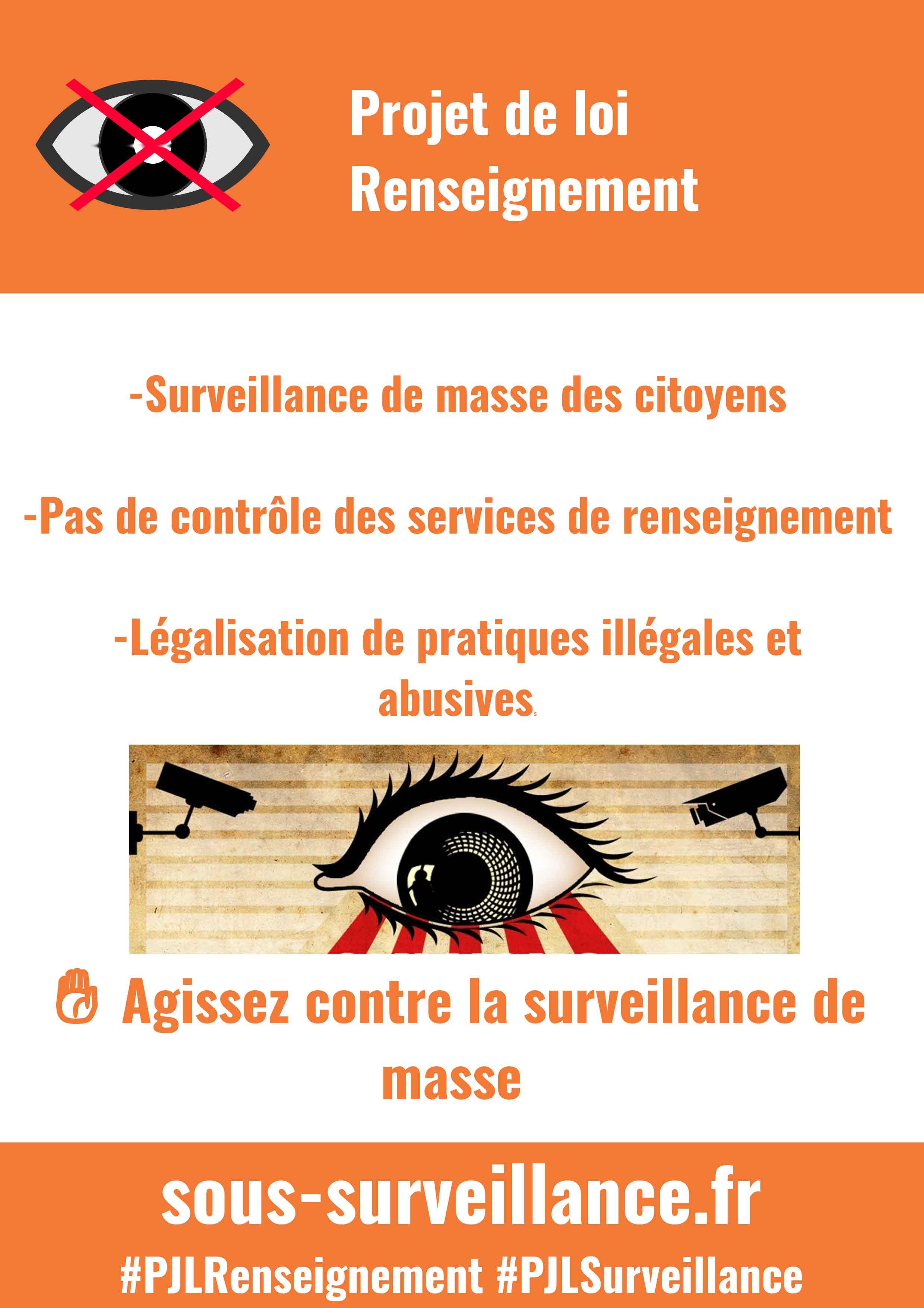 Rassemblement contre la surveillance généralisée.