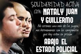 Visuel de solidarité avec Nataly, Juan et Guillermo.