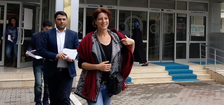 Fréderike Geerdink à la sortie du palais de justice