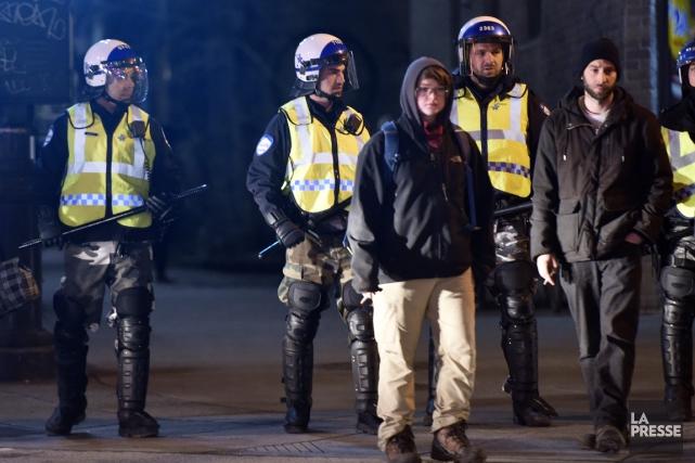 Manifestation interdite d'hier soir à Montréal