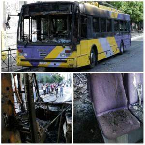 Un autobus incendié ce samedi à Exarchia