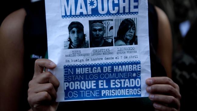 Affiche de soutien aux prisonniers Mapuche.