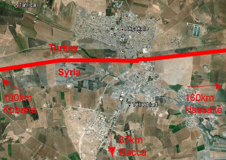 La situation géographique de Tal Abyad.