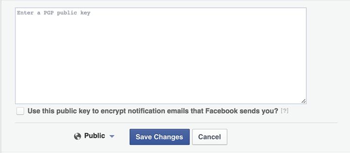 Facebook permet à ses utilisateurs d'héberger leur clé PGP sur son site.