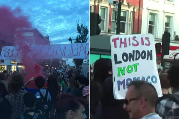 Manifestation contre la gentrification à Camdem.