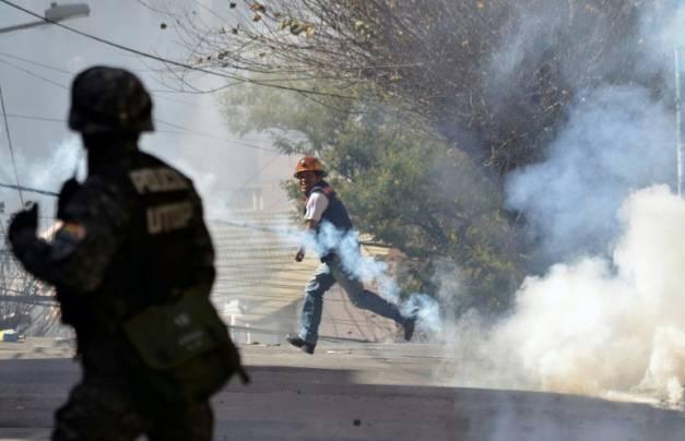 Affrontements entre policiers et mineurs le 22 juillet près du palais présidentiel de La Paz