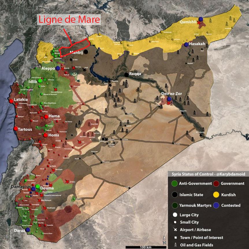Carte de la Syrie, juin 2015.