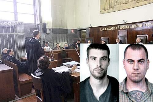 Alessandro Settepani (à gauche) et Sergio Maria Stefani  (à droite) et le tribunal de Pérouse