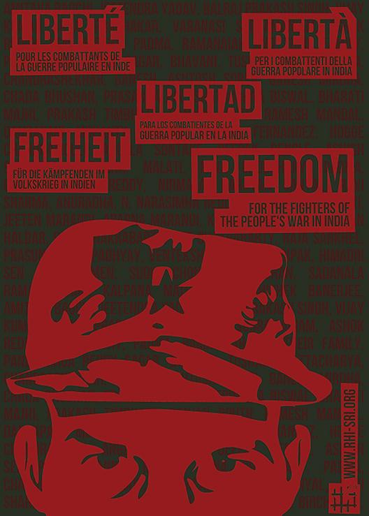 Affiche du SRI pour les prisonniers maoïste en Inde