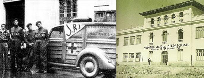 Le SRI dans la guerre d'Espagne: à gauche des volontaires canadiens, à droite un hôpital militaire