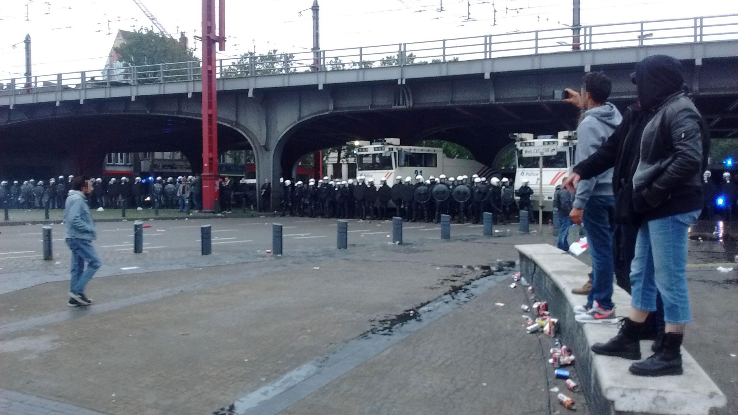Affrontements à la Gare du Midi.