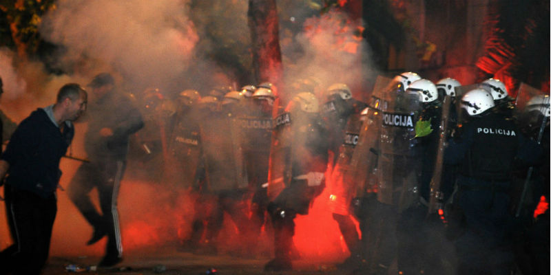 Les affrontements à Podgorica