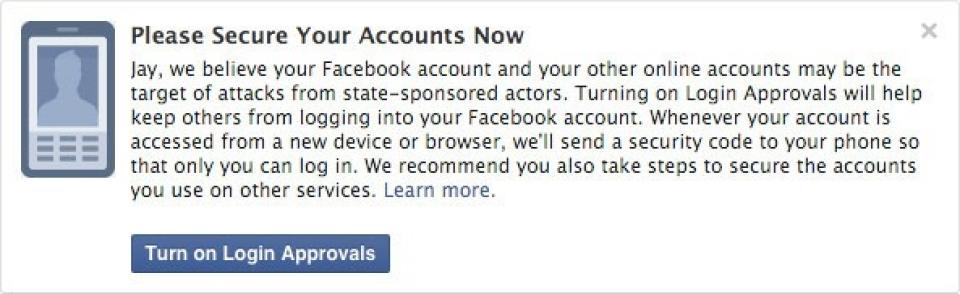 L'avertissement affiché par Facebook.