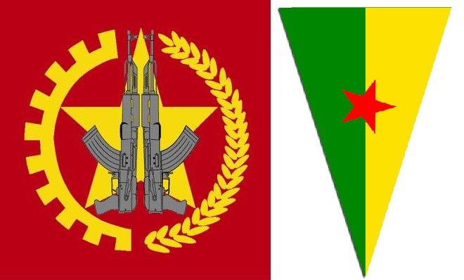 Les emblèmes du TIKKO et du HPG, les forces armées du TKP/ML et du PKK