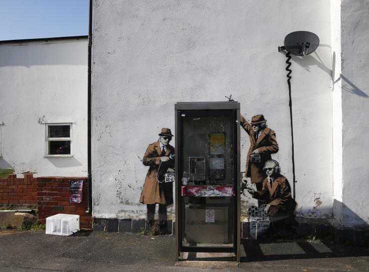 Street art à proximité du siège de l'agence chargée des écoutes à Cheltenham