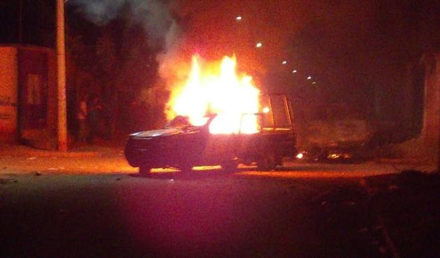 Patrouilleuse incendiée à Tehuantepec (Oaxaca)