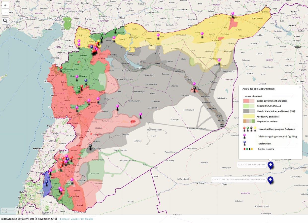 Répartition des territoires en Syrie, début novembre 2016.