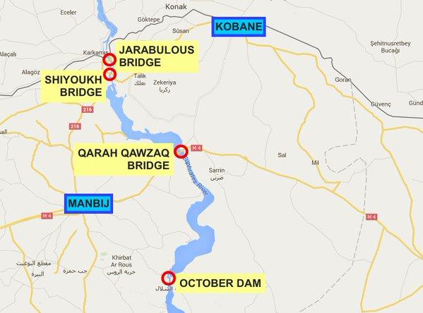 Objectifs des QSD entre Alep et Kobané.