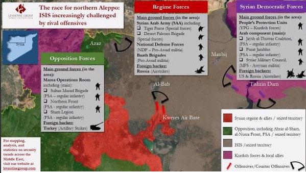 Carte d'Alep, probablement aussi compréhensible que la situation sur place.