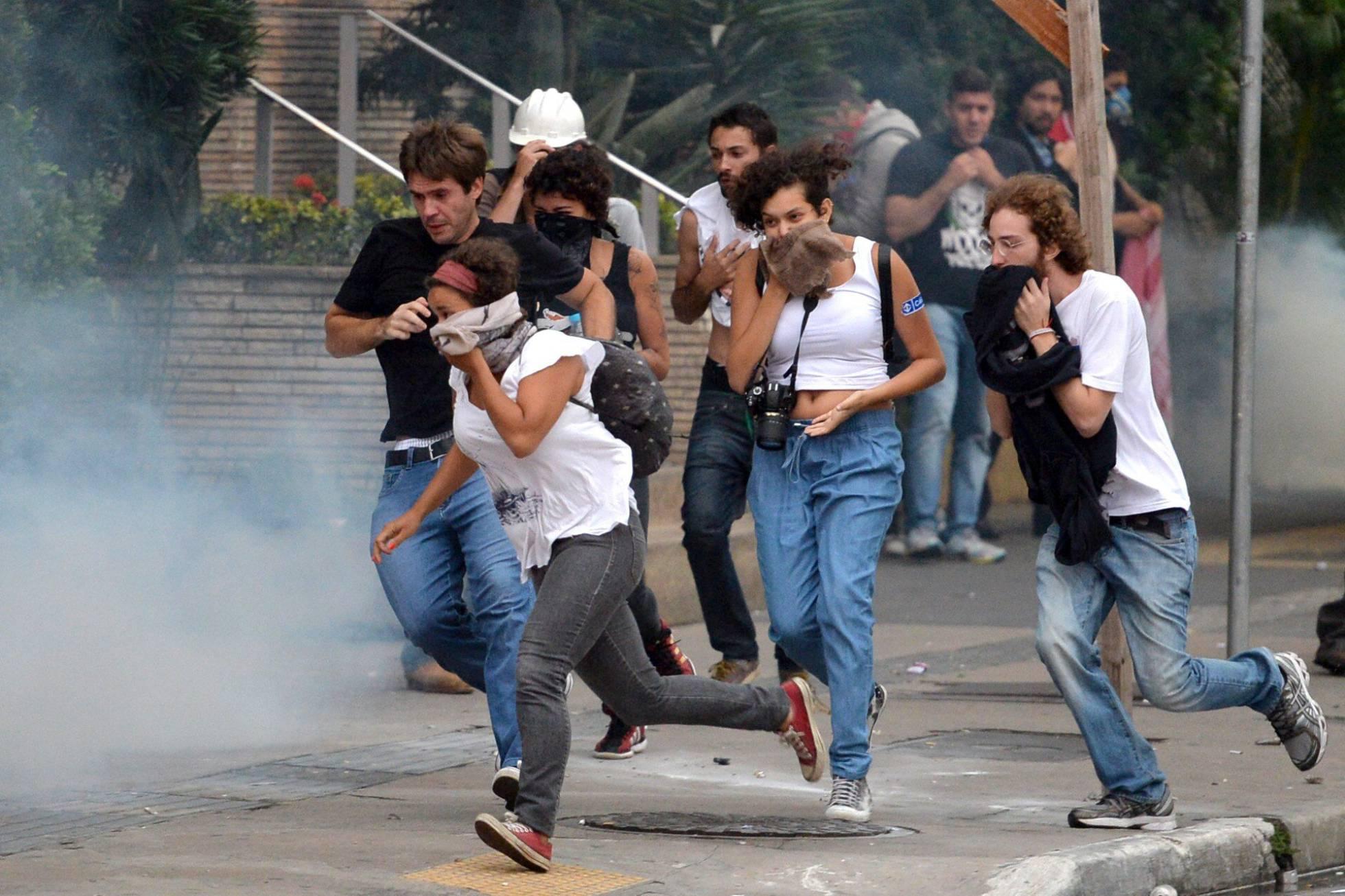 Gaz lacrymogènes à Sao Paulo