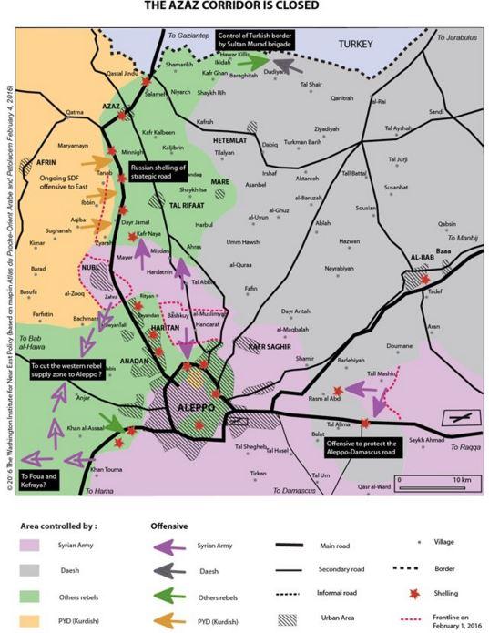 Situation dans le nord d'Alep au 1 février 2016.