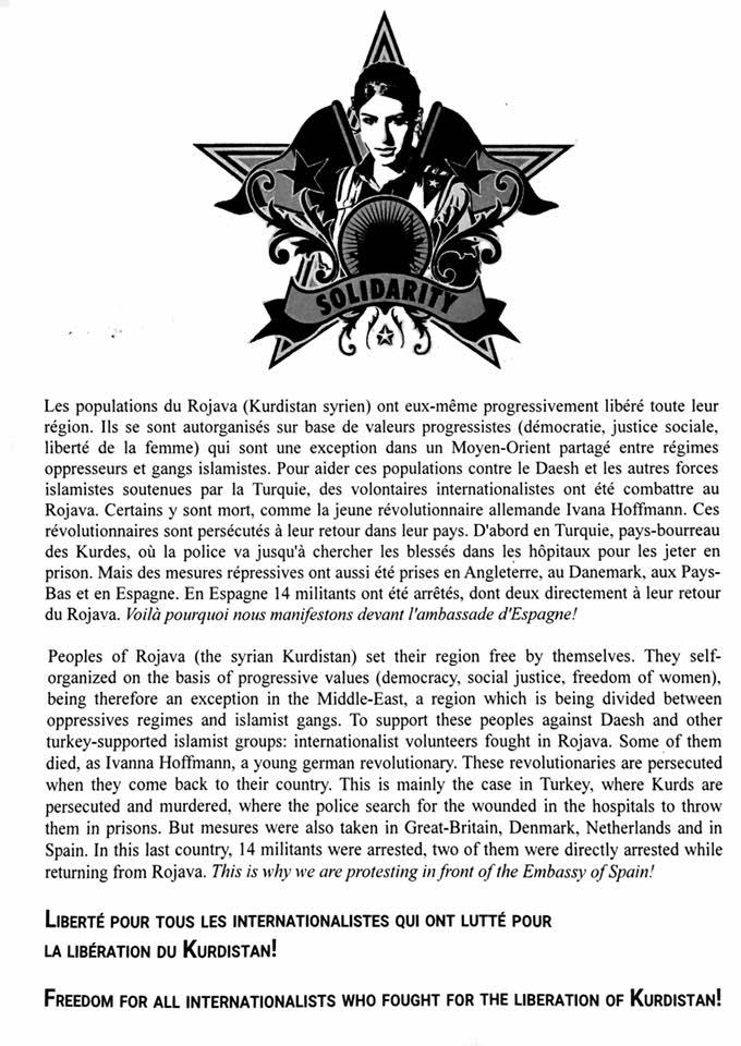 tract en solidarité avec les internationalistes espagnols