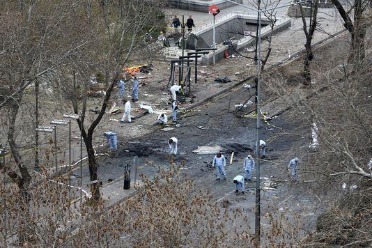 Le lieu de l'explosion à Ankara