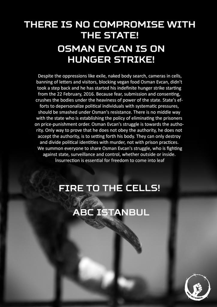 Osman Evcan en grève de la faim