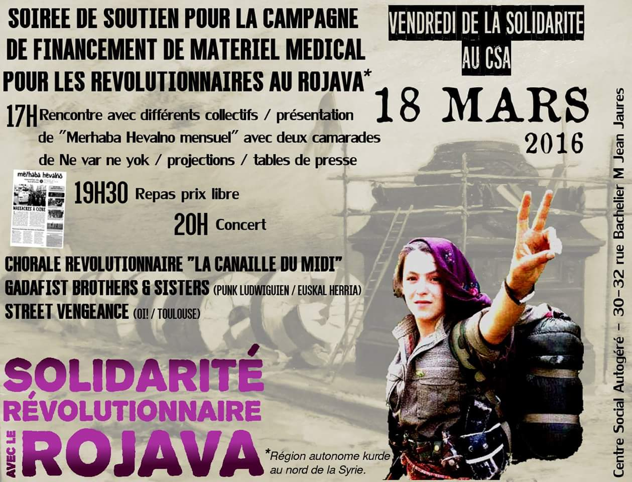 Soirée solidarité avec le Rojava