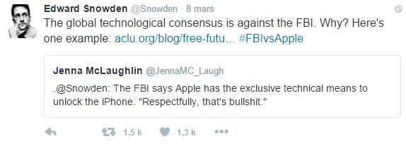 Snowden pense que le FBI