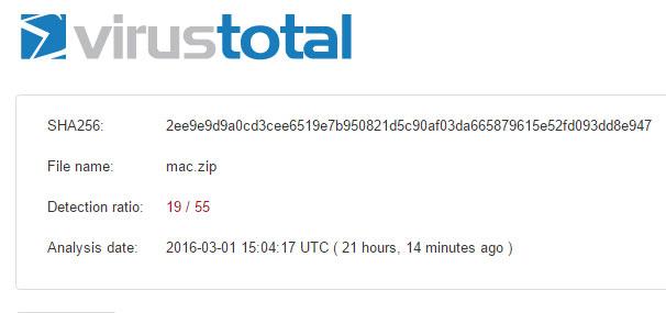 La fiche dédiée chez VirusTotal.