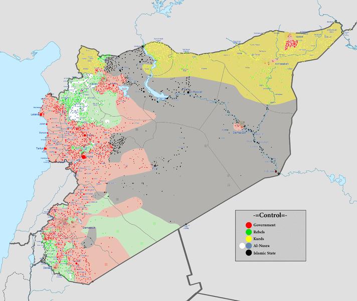 Situation au 9 mars 2016, zones