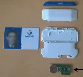 Puce RFID dans un badge SANOFI