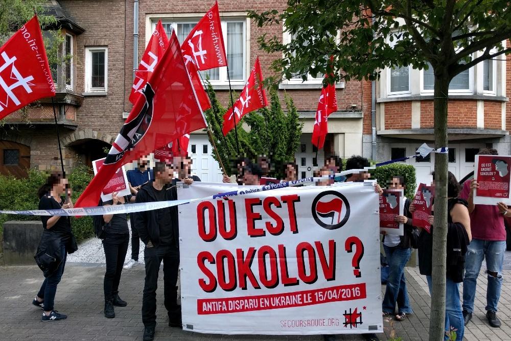 Rassemblement devant l'ambassade d'Ukraine à Bruxelles le 15 juillet.
