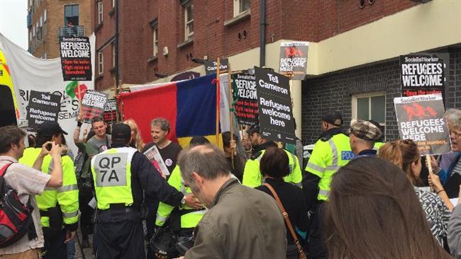 Manifestants antifascistes à Bristol