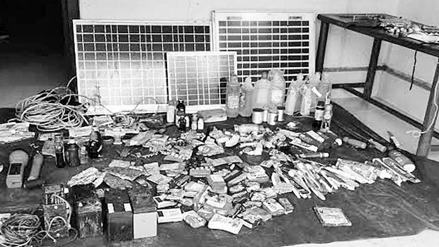 Le matériel récupéré par la police