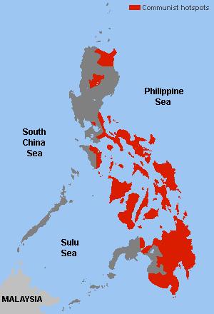 Zones de d'activité de la guérilla maoïste aux Philippines
