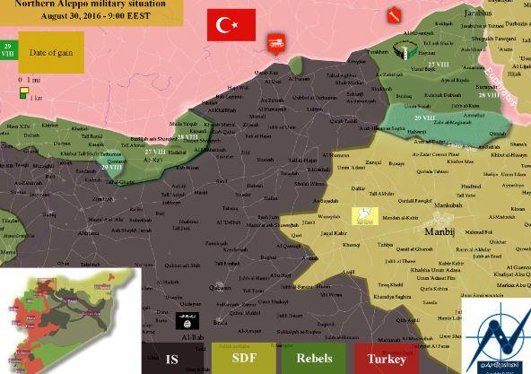 Front de Manbij/Jarabulus au 30 août 2016
