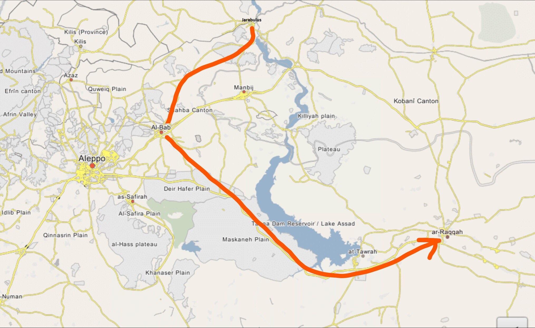 La route des aides djihadistes allant de Jarabulus à Al-Bab et de Al-Bab à Raqqa
