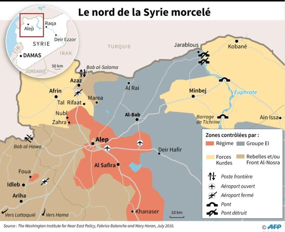 La position stratégique de Manbij (ici transcrit Minbej)
