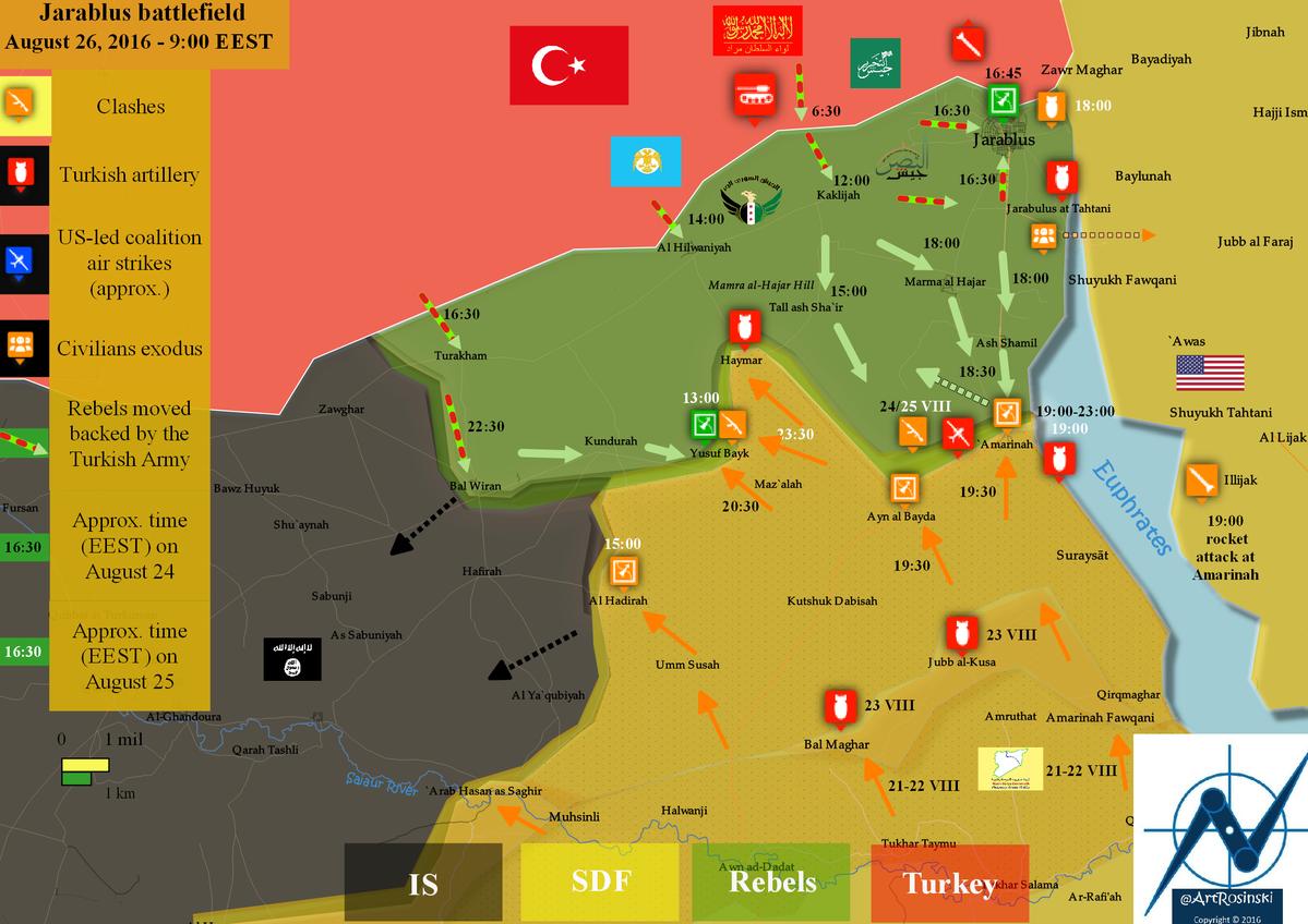 Situation à l'ouest de l'Euphrate au 26 août matin