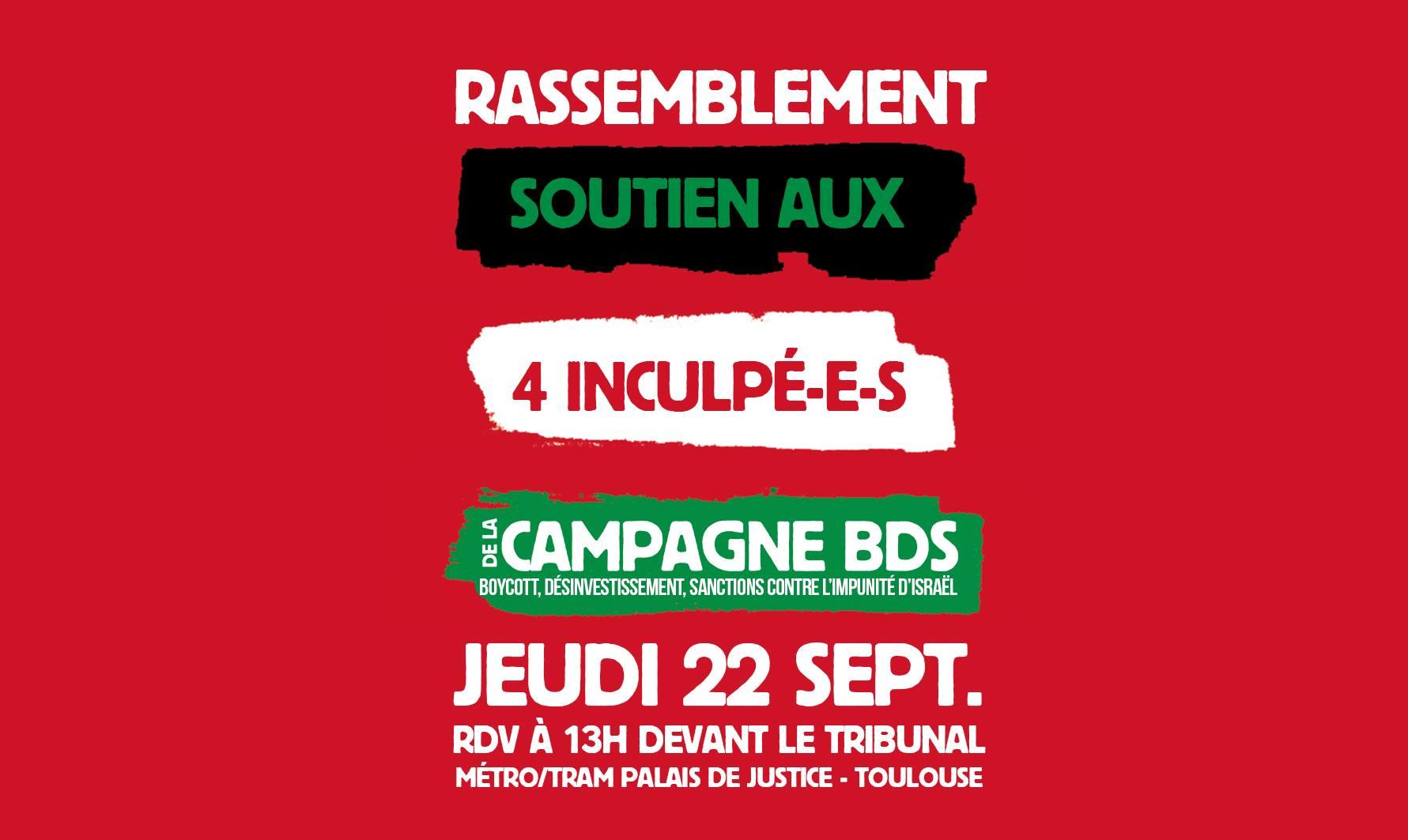 Rassemblement de soutien aux 4 BDS