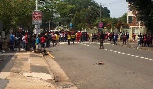 Manifestants du DUT mercredi à Durban
