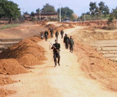 Patrouille de sécurité dans la région touchée par la grève