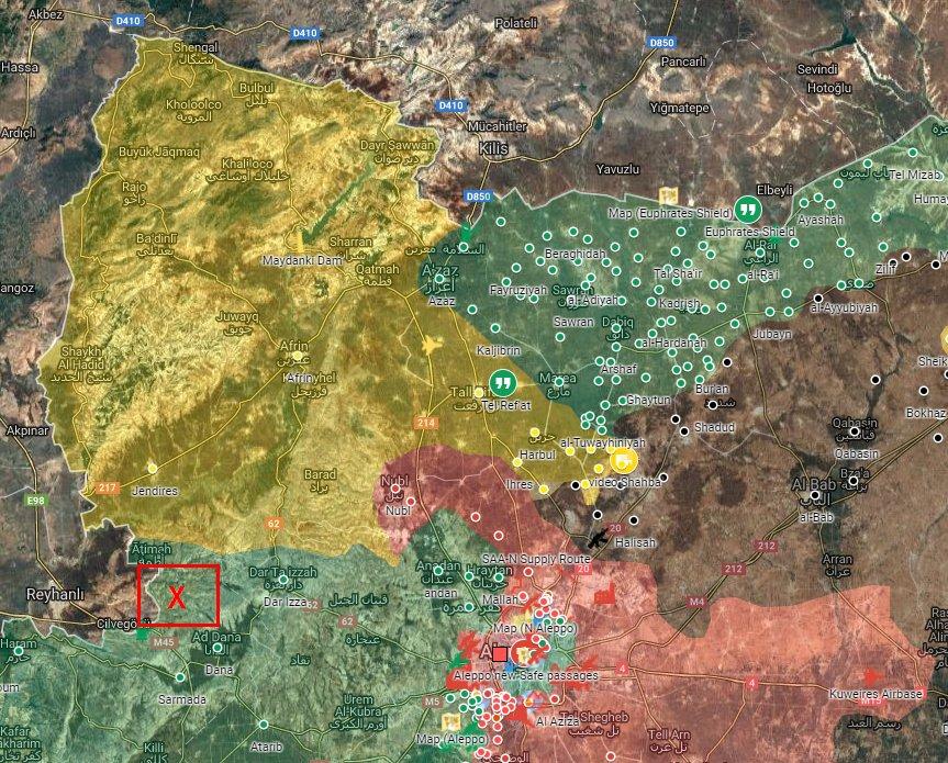 Nouvelle incursion turque par l'ouest de la Syrie, au sud d'Afrin. Le point rouge marque l'incursion.