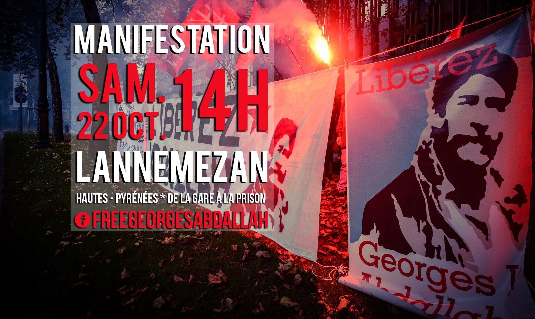 Manifestation pour Georges Ibrahim Abdallah ce 22 octobre à Lannemezan